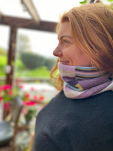 Load image into Gallery viewer, Reversible Snood - Multicolour Striped / Grey