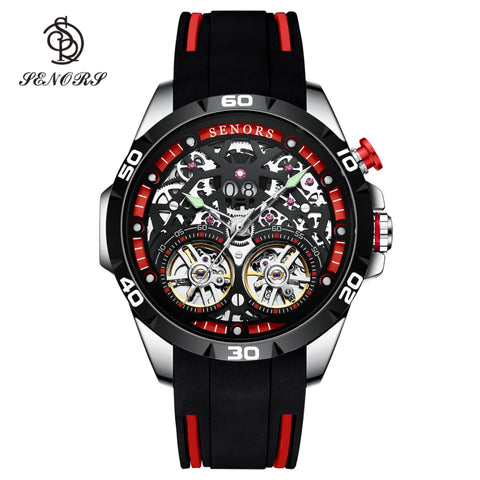 Men Automatic Sport Watch  Double Tourbillon Skeleton 30m  Waterproof