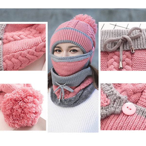 New Fashion Autumn Winter Knit Hat and Scarf Warm Windproof with Face Mask for Women