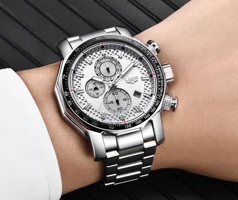 Stainless Steel Fashion Men's Chronograph Quartz Watch Sport - LIGE-9902
