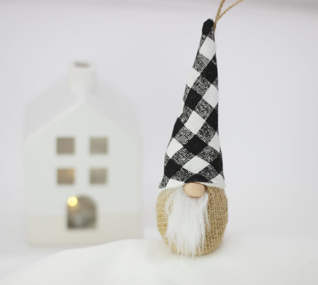 Farmhouse Gnome Christmas Ornament | Burlap and Buffalo Check