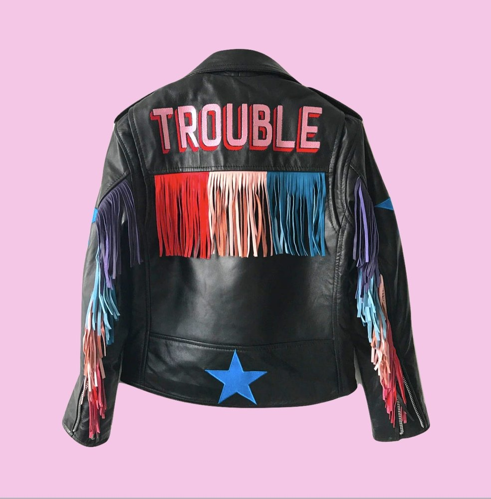 TROUBLE FRINGED RAINBOW biker jacket - laurieleestudio