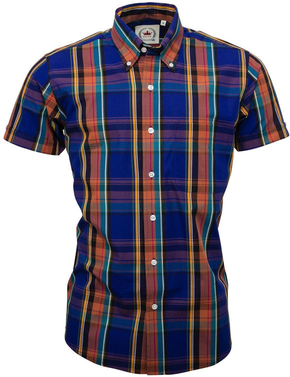 Shirt Check Purple Short Sleeve - Relco