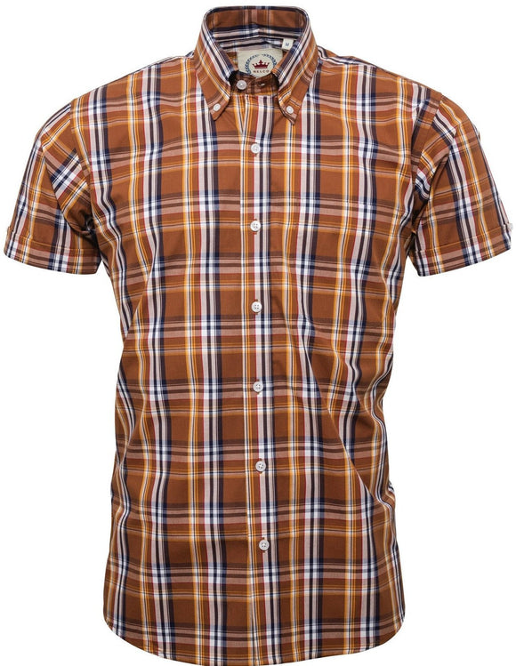 Shirt Check Brown Short Sleeve - Relco