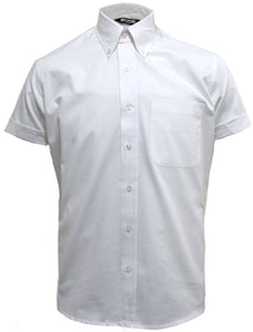 Mens White Oxford Button Down Short Sleeve Shirt - Relco - CXLondon.Com