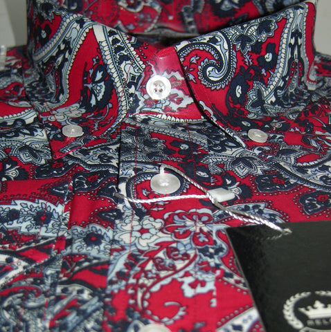 Shirt Paisley Men's Red Sky Blue