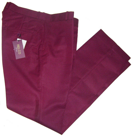 Sta Press Trousers Burgundy Red - Relco London
