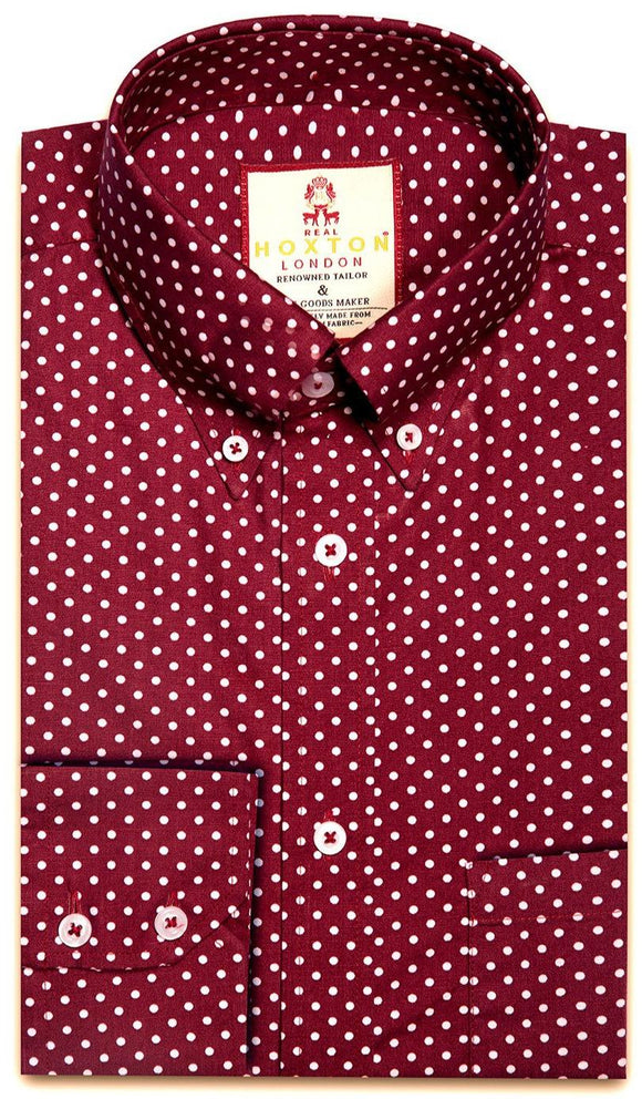 Shirt Polka Dot Men's Maroon - Real Hoxton