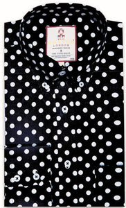 Shirt Polka Dot Men's Black - Real Hoxton