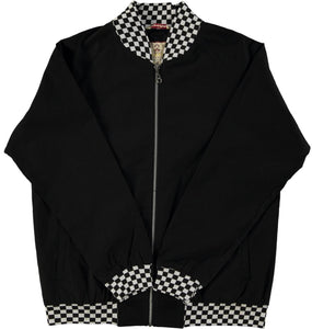 Monkey Jacket Black Checkerboard Vintage Bomber Design - Real Hoxton