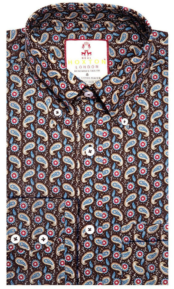 Shirt Paisley Men's Chocolate Brown - Real Hoxton