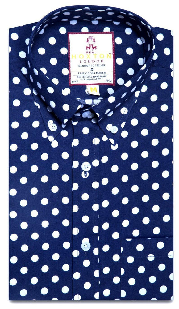 Shirt Polka Dot Men's Navy - Real Hoxton