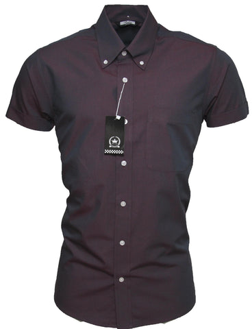 Shirt Men's Tonic Burgundy Black Short Sleeve