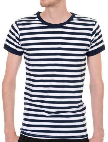 Mens Navy & White Striped Short Sleeve T Shirt
