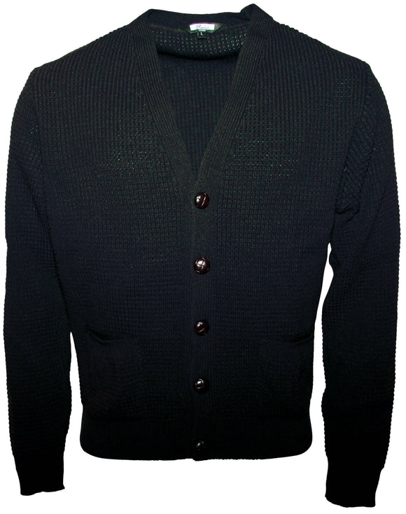 Waffle Cardigan Black - Relco