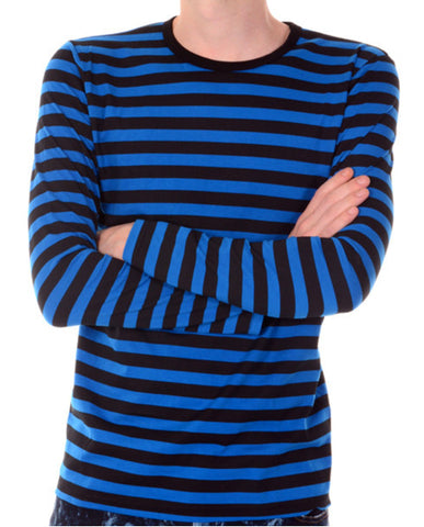 T Shirt Blue Black Stripes Long Sleeve