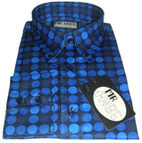 Shirt Casual Geometric Blue Polka Dot Shirt