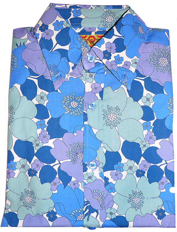 Shirt Psychedelic Mod Floral Violet, Blue & Mint by Run & Fly