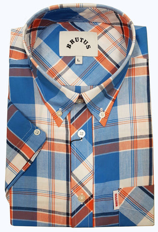 Brutus Shirt Orange Blue Check Men's Short Sleeve