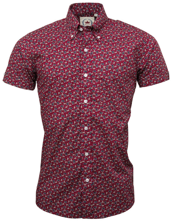 Shirt Burgundy Paisley Men's Short Sleeve