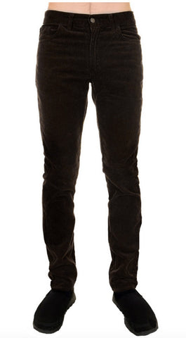 Mens Retro Vintage Black Slim Straight Leg Corduroy Jeans