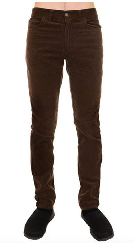 Mens Retro Vintage Brown Slim Straight Leg Corduroy Jeans