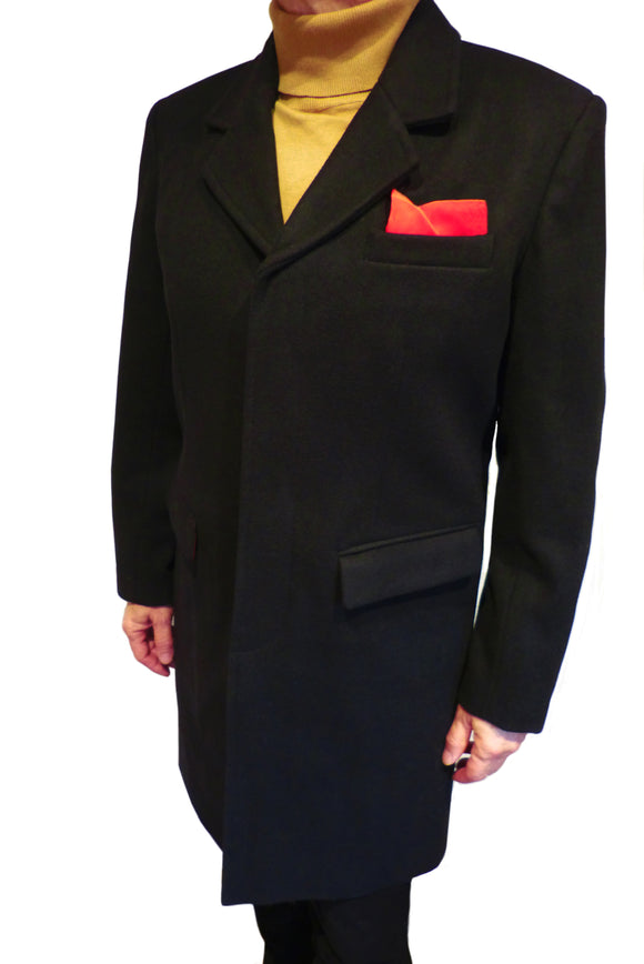 Men's Overcoat in Black by Relco