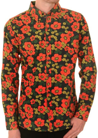 Shirt Mod Psychedelic Floral Poppy by Run & Fly