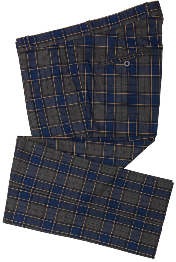 Sta Press Grey Blue Check Trousers