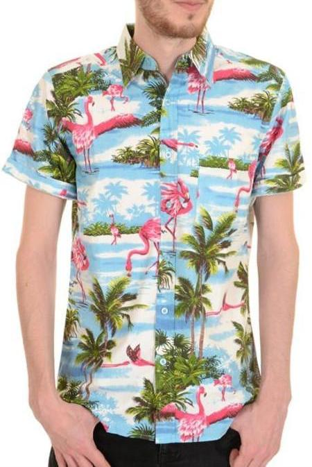 Shirt Flamingo Beach Hawaiian Shirt  Men's Short Sleeve