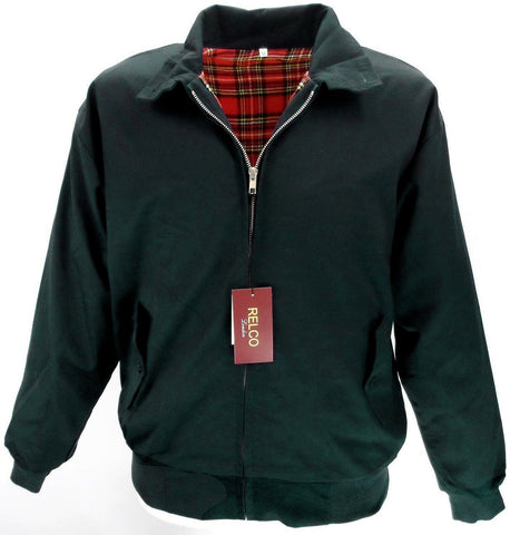 Harrington Jacket Black With Tartan Lining Relco