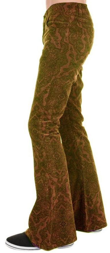 Mens Tan Paisley Hendrix Corduroy Bell Bottom Trousers