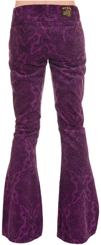 Mens Purple Paisley Hendrix Corduroy Bell Bottom Trousers