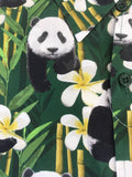 Shirt Panda Bear Bamboo Green Hawaiian Retro  Men's Short Sleeve