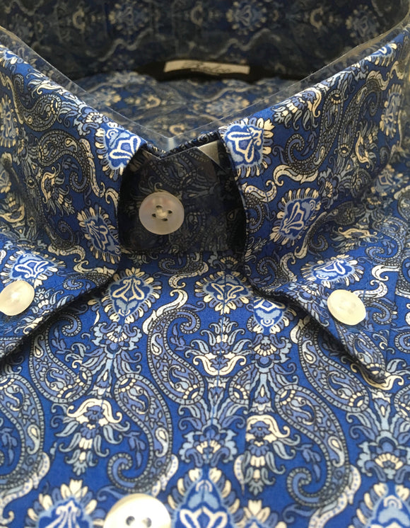 Shirt Blue Gold Art Nouveau Paisley Men's Vintage - Relco