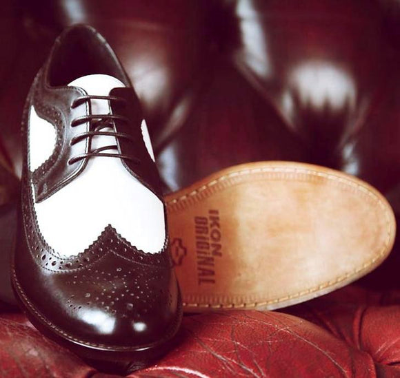 Shoes Brogues Black and White Ikon