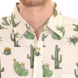 Shirt Cream Green Cactus Men's Short Sleeve