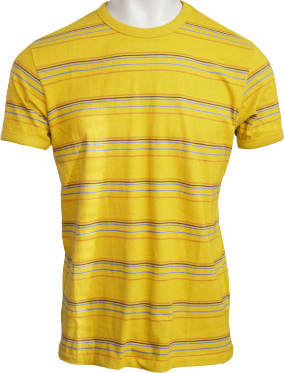 T Shirt Yellow Stripe Cotton Short Sleeve