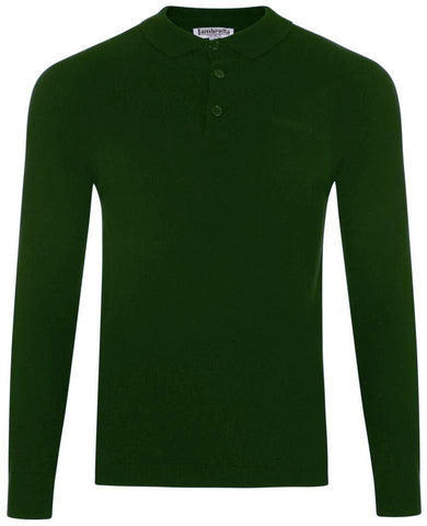 Long Sleeve Polo - Green - Plain Knitted - Lambretta