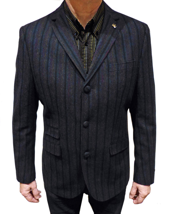 Blazer in navy, red, blue & yellow stripes - Maddox Street - CXLondon.Com