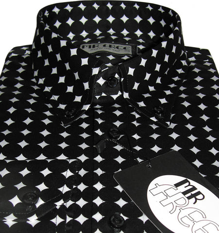 Shirt Polka Dot Men's Crazy Diamond Black Mr Free™