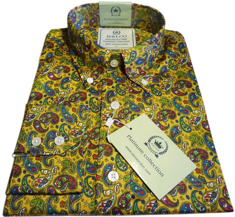 Mens Shirt Mustard  Paisley Button Down Collar - Relco Platinum