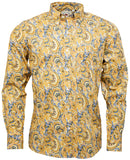 Mens Paisley Shirt Mustard Button Down Collar - Relco