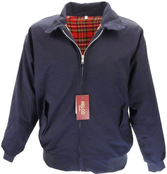 Harrington Jacket Navy With Tartan Lining Relco - CXLondon.Com