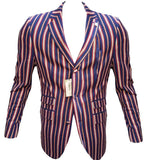 Boating Blazer in navy, red, silver & orange stripes - Maddox Street