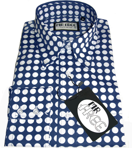 Shirt Polka Dot Men's Midnight Blue White Mr Free™