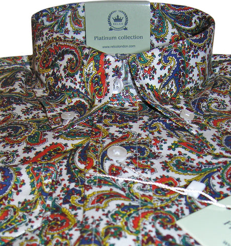 Mens Shirt Orange Blue Paisley Button Down Collar - Relco Platinum
