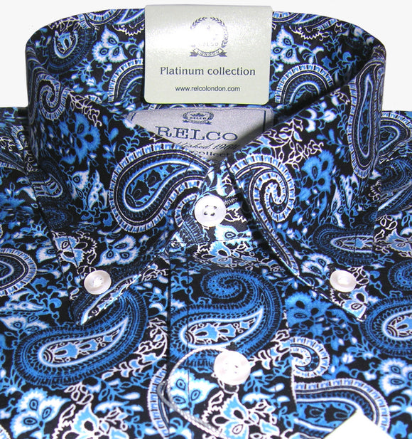 Mens Shirt Blue Black Paisley Button Down Collar - Relco - CXLondon.Com