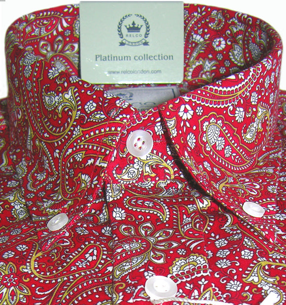 Mens Shirt Multi Red Paisley Button Down Collar - Relco Platinum - CXLondon.Com