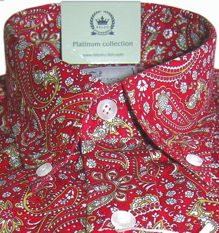 Mens Shirt Multi Red Paisley Button Down Collar - Relco Platinum